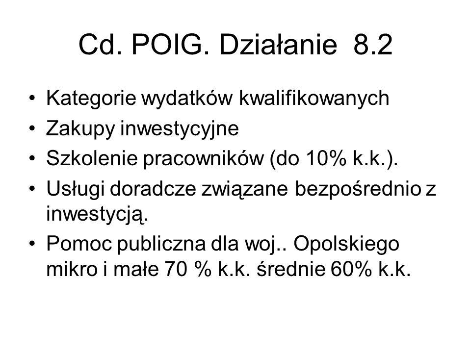 Cd. POIG. Działanie 8.2 Kategorie wydatków kwalifikowanych