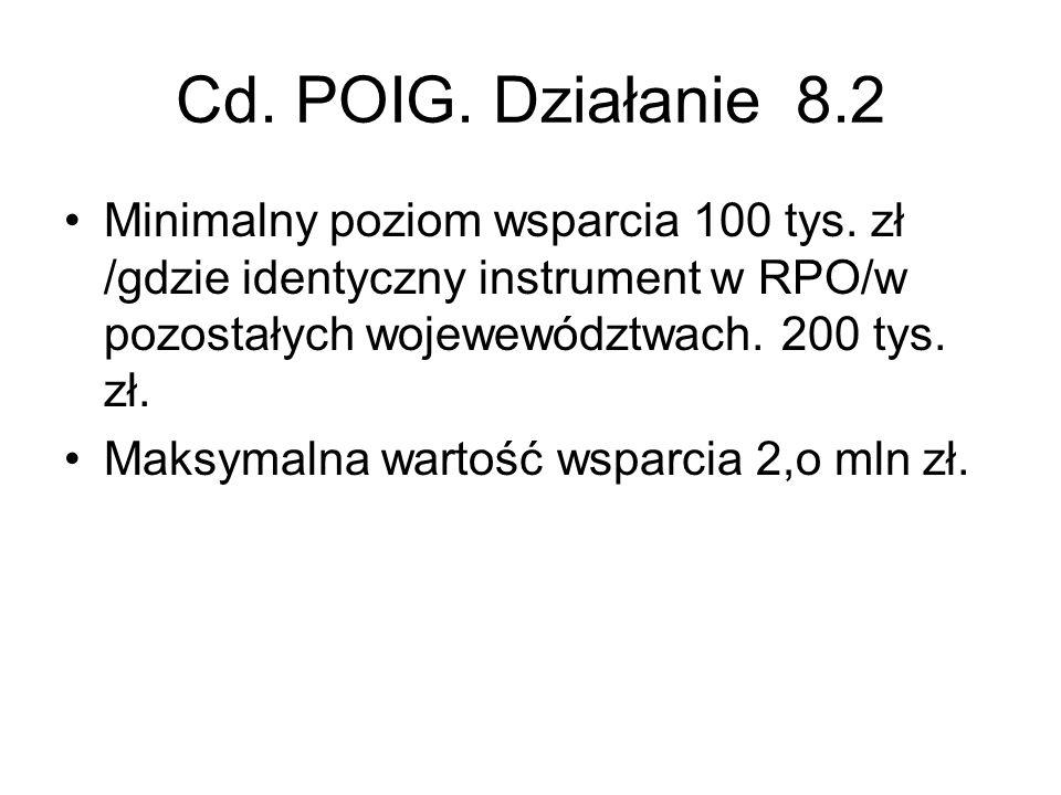 Cd. POIG. Działanie 8.2 Minimalny poziom wsparcia 100 tys. zł /gdzie identyczny instrument w RPO/w pozostałych wojewewództwach. 200 tys. zł.