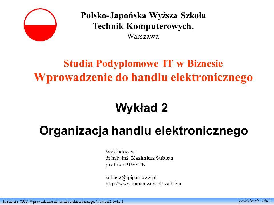 Wykład 2 Organizacja handlu elektronicznego