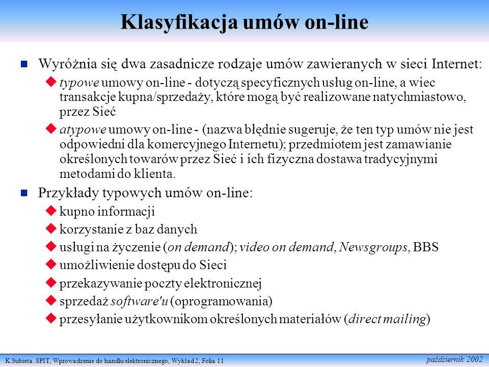 Klasyfikacja umów on-line