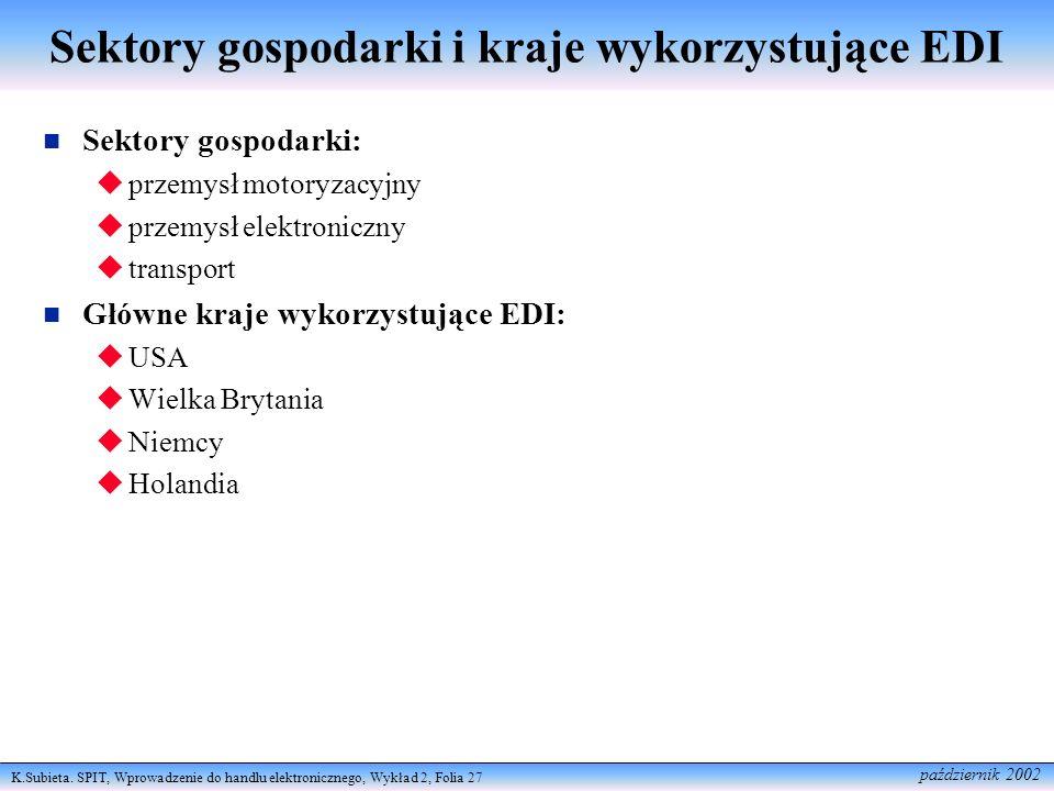 Sektory gospodarki i kraje wykorzystujące EDI