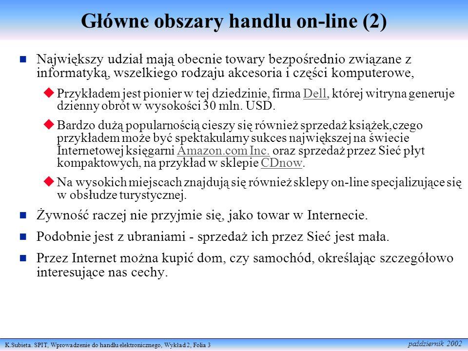 Główne obszary handlu on-line (2)