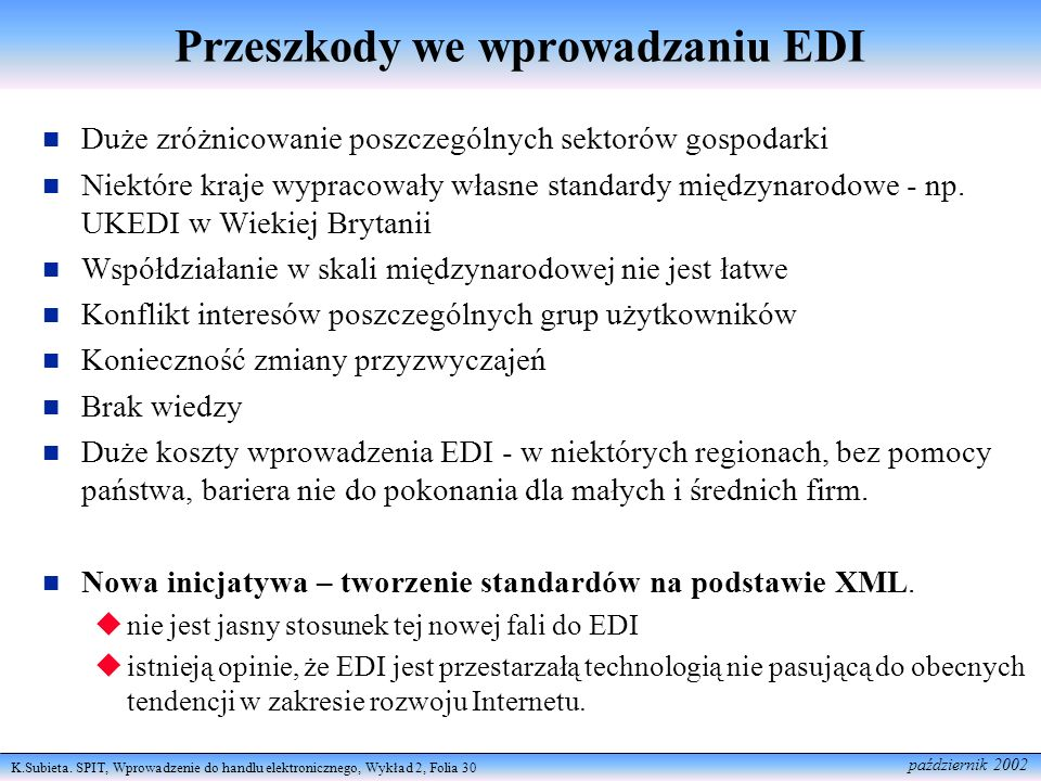 Przeszkody we wprowadzaniu EDI