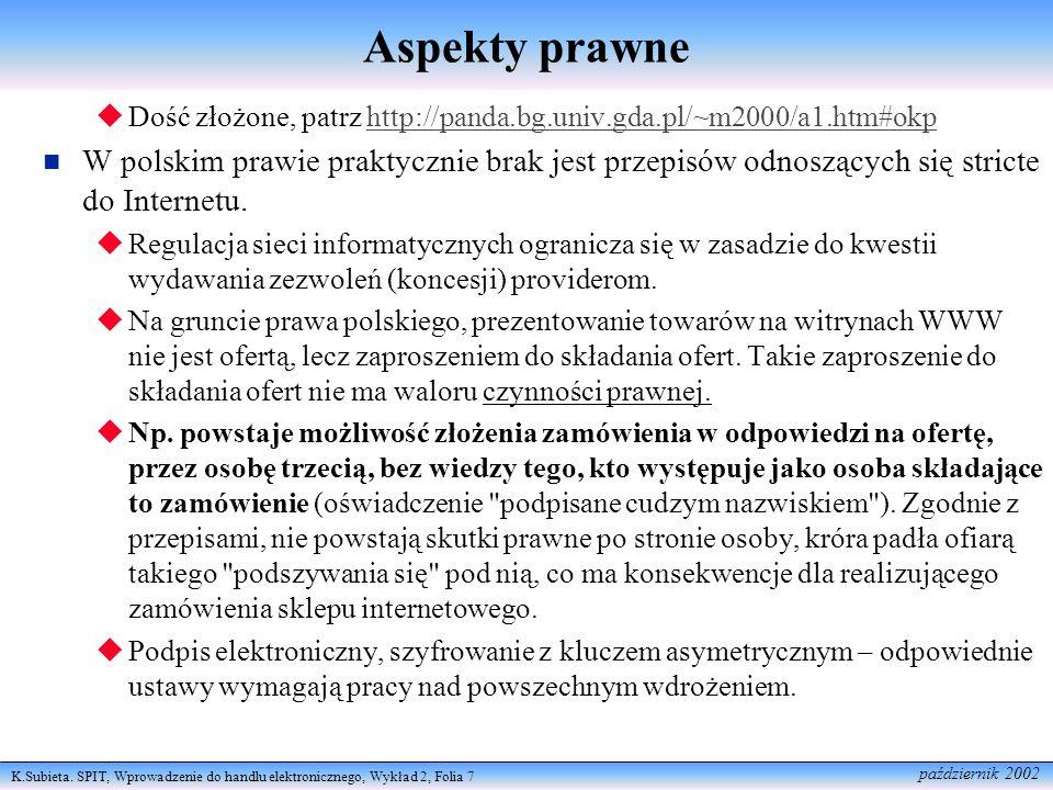 Aspekty prawne Dość złożone, patrz http://panda.bg.univ.gda.pl/~m2000/a1.htm#okp.