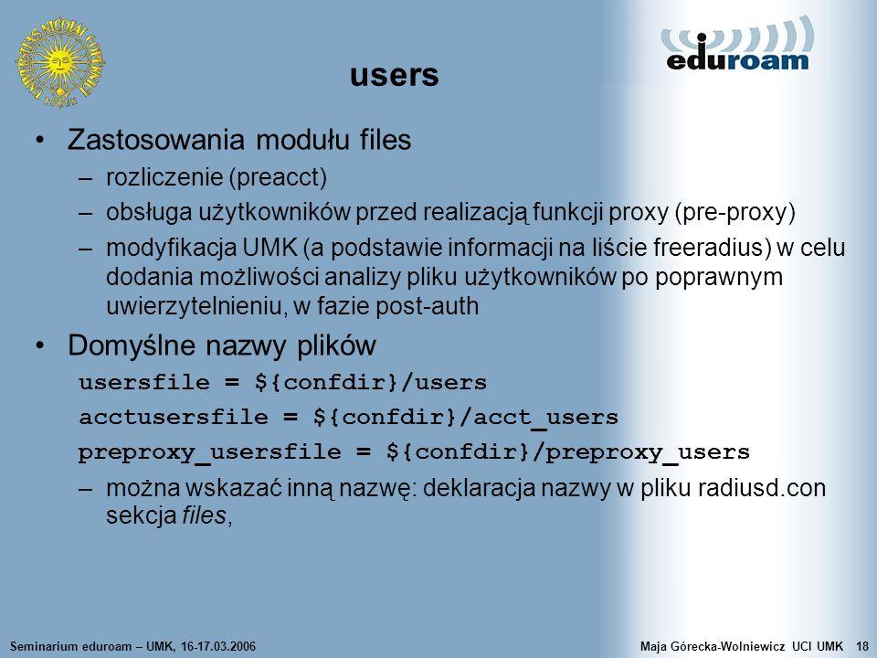 users Zastosowania modułu files Domyślne nazwy plików