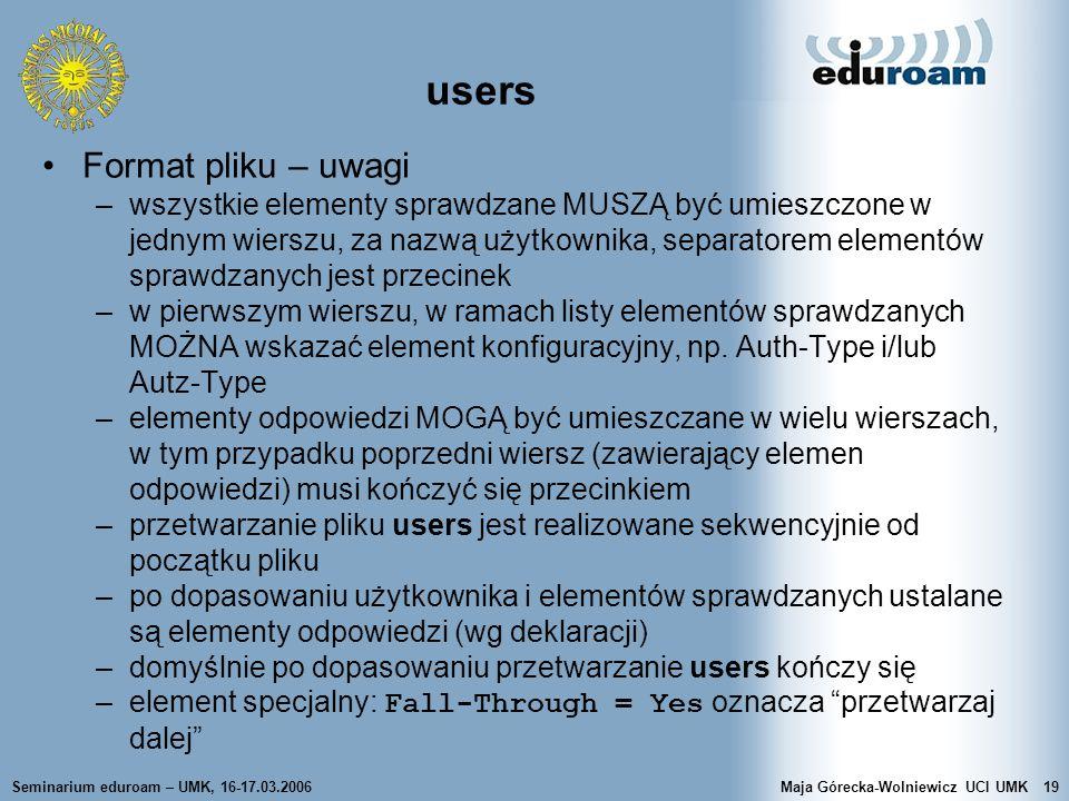 users Format pliku – uwagi