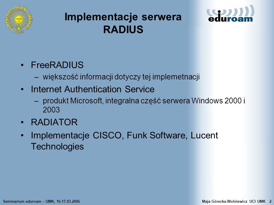 Implementacje serwera RADIUS