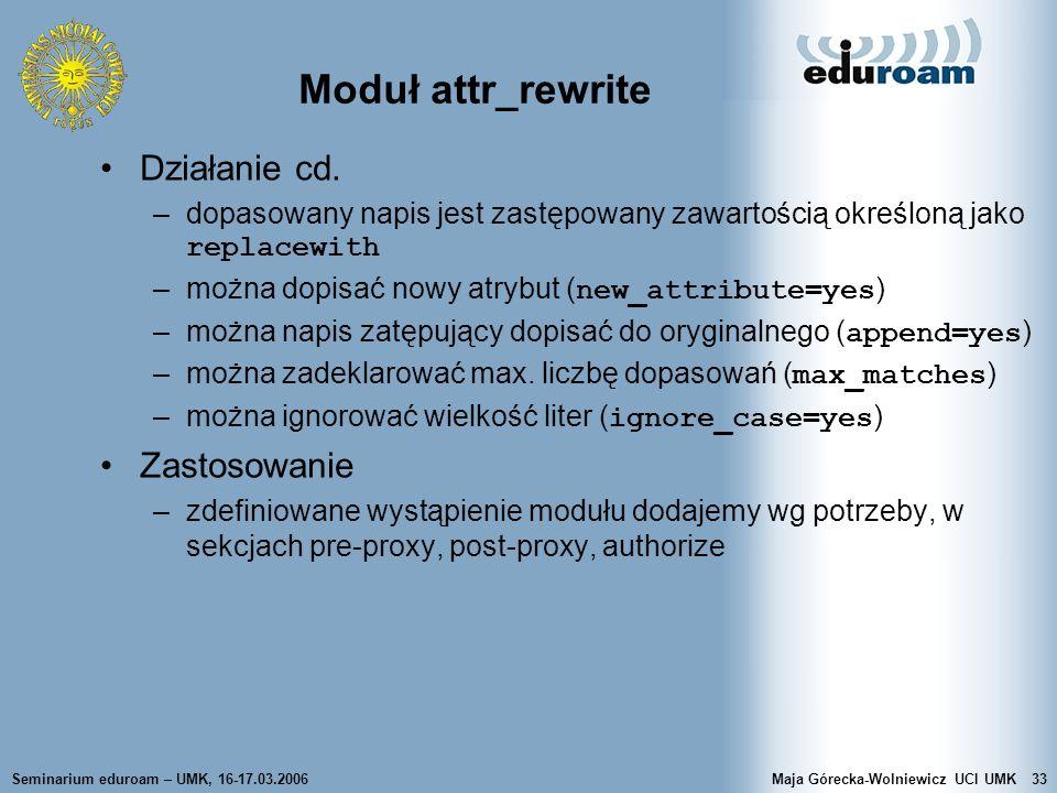 Moduł attr_rewrite Działanie cd. Zastosowanie