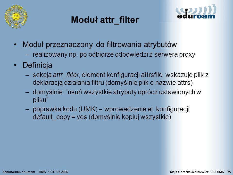 Moduł attr_filter Moduł przeznaczony do filtrowania atrybutów
