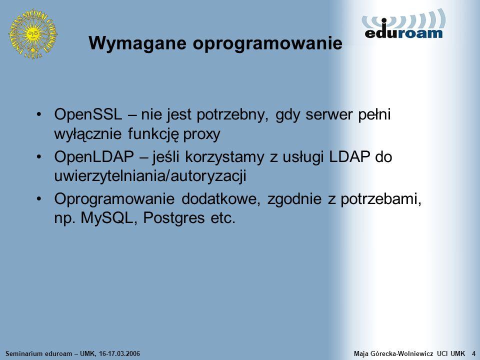 Wymagane oprogramowanie