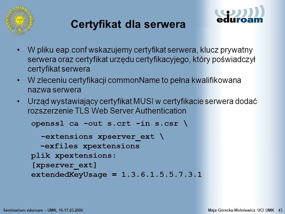 Certyfikat dla serwera