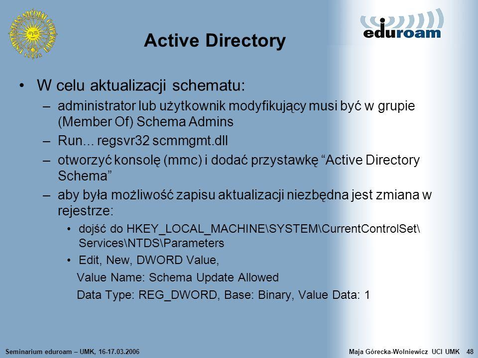 Active Directory W celu aktualizacji schematu: