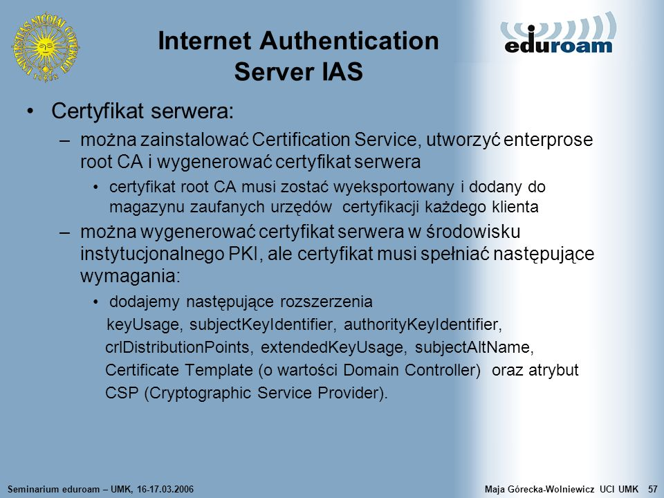 Internet Authentication Server IAS