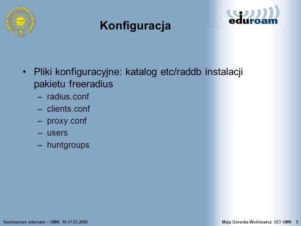 Konfiguracja Pliki konfiguracyjne: katalog etc/raddb instalacji pakietu freeradius. radius.conf. clients.conf.