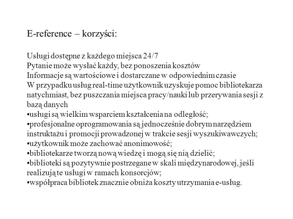 E-reference – korzyści: