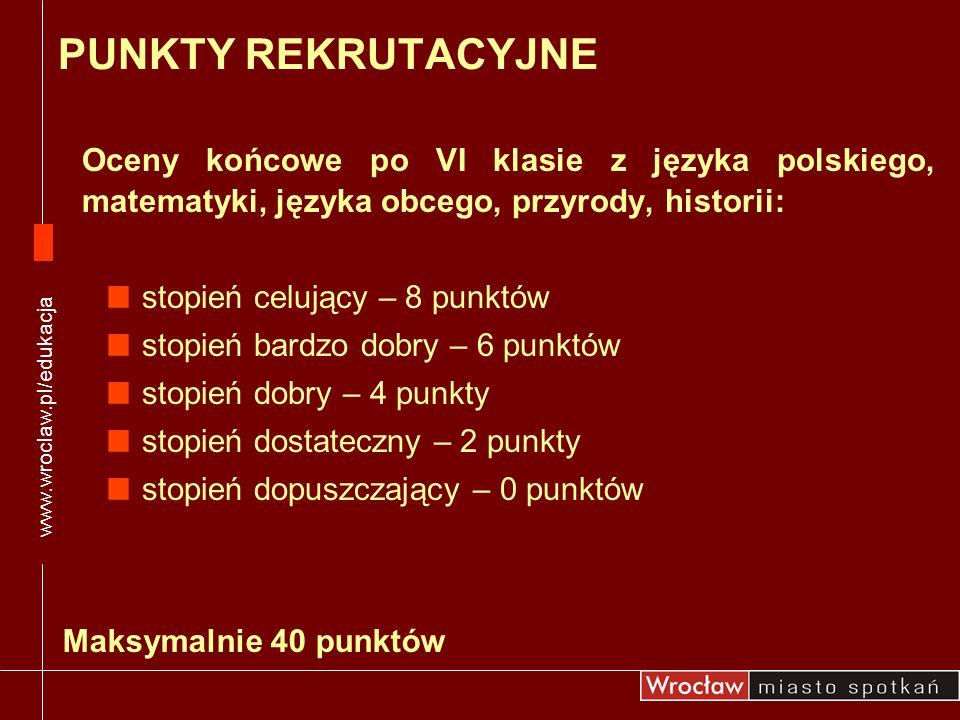 www.wroclaw.pl/edukacja PUNKTY REKRUTACYJNE. Oceny końcowe po VI klasie z języka polskiego, matematyki, języka obcego, przyrody, historii:
