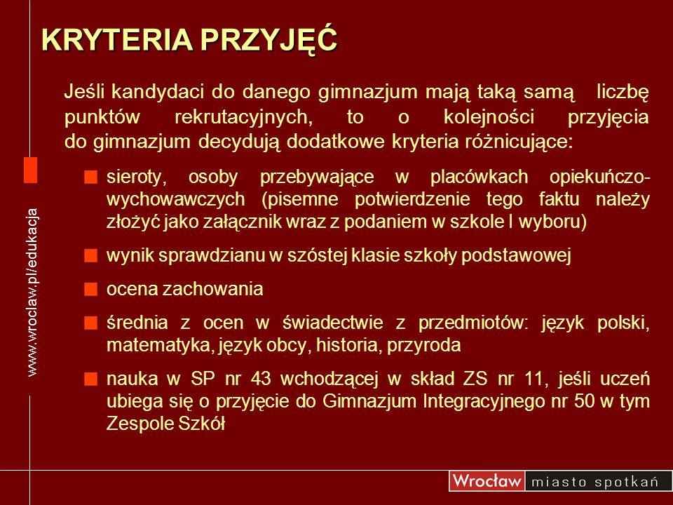 www.wroclaw.pl/edukacja KRYTERIA PRZYJĘĆ.
