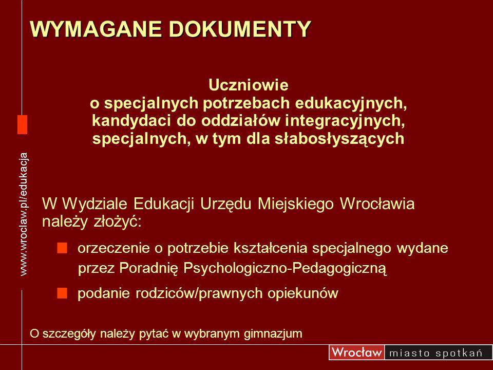 www.wroclaw.pl/edukacja WYMAGANE DOKUMENTY.