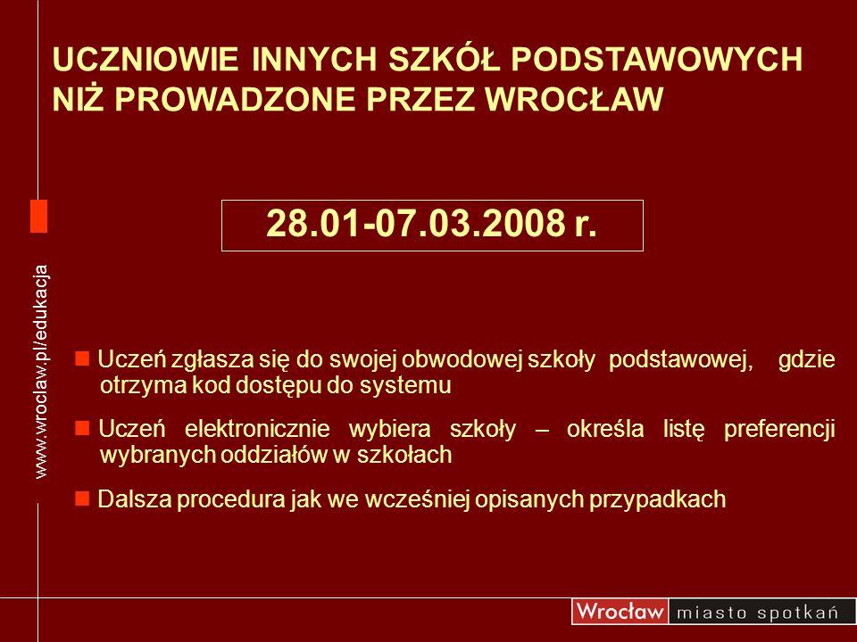 www.wroclaw.pl/edukacja UCZNIOWIE INNYCH SZKÓŁ PODSTAWOWYCH NIŻ PROWADZONE PRZEZ WROCŁAW.