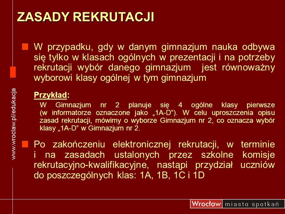 www.wroclaw.pl/edukacja ZASADY REKRUTACJI.