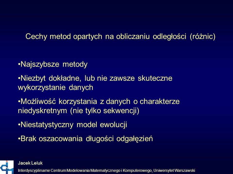 Cechy metod opartych na obliczaniu odległości (różnic)