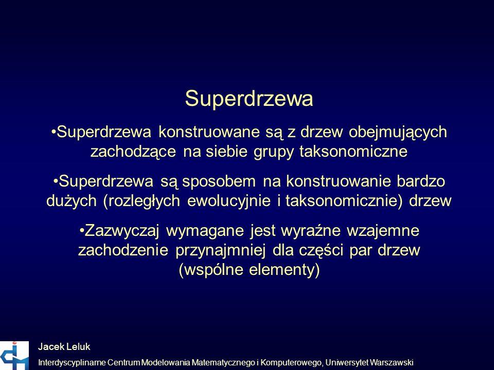 Superdrzewa •Superdrzewa konstruowane są z drzew obejmujących zachodzące na siebie grupy taksonomiczne.
