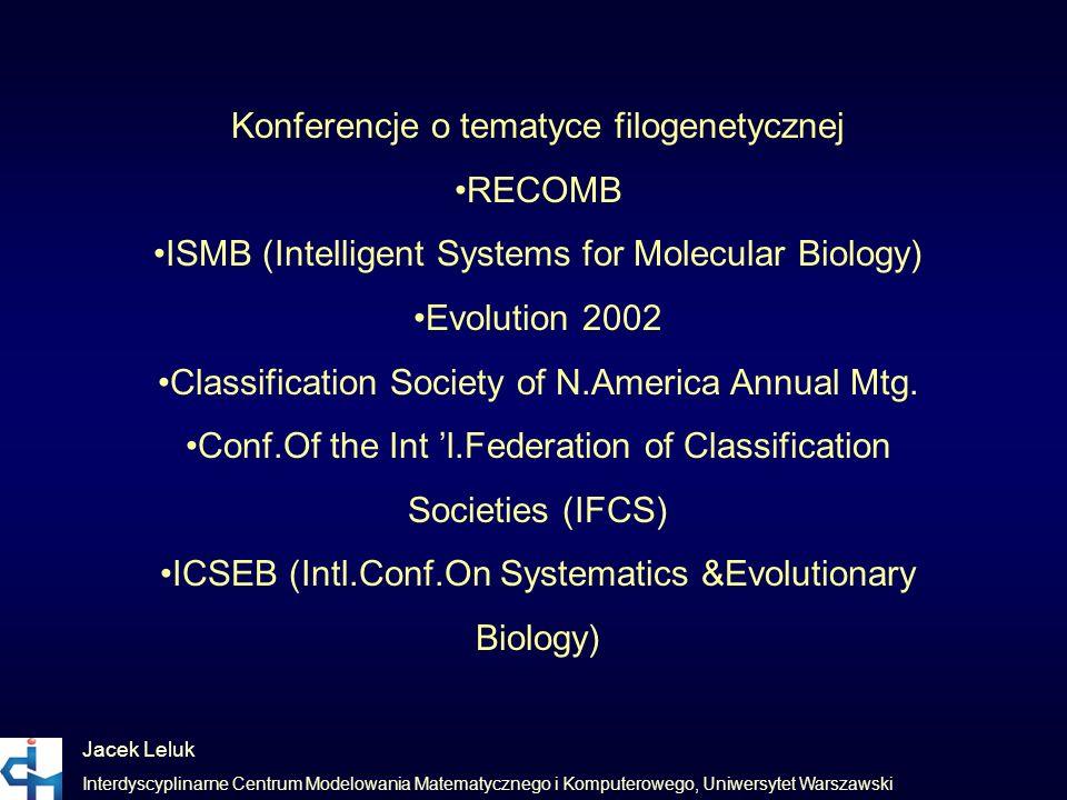 Konferencje o tematyce filogenetycznej •RECOMB