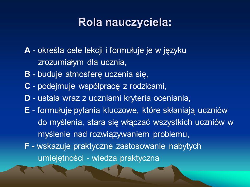 Rola nauczyciela: A - określa cele lekcji i formułuje je w języku