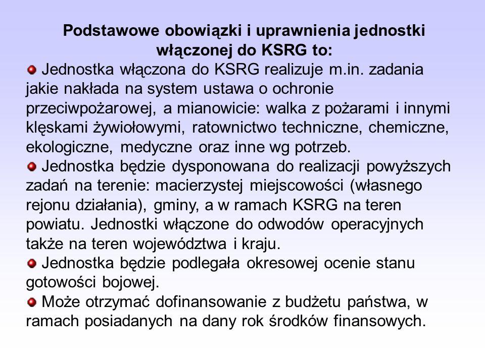 Podstawowe obowiązki i uprawnienia jednostki włączonej do KSRG to: