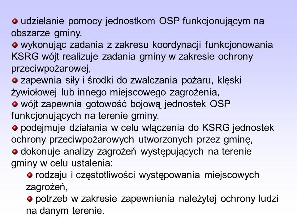 udzielanie pomocy jednostkom OSP funkcjonującym na obszarze gminy.