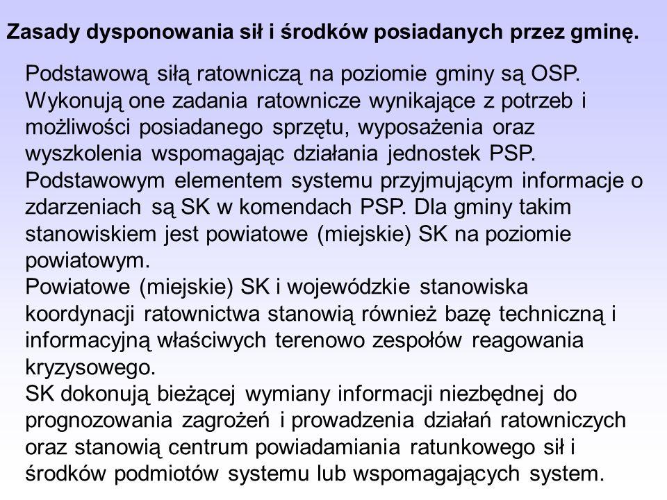 Zasady dysponowania sił i środków posiadanych przez gminę.