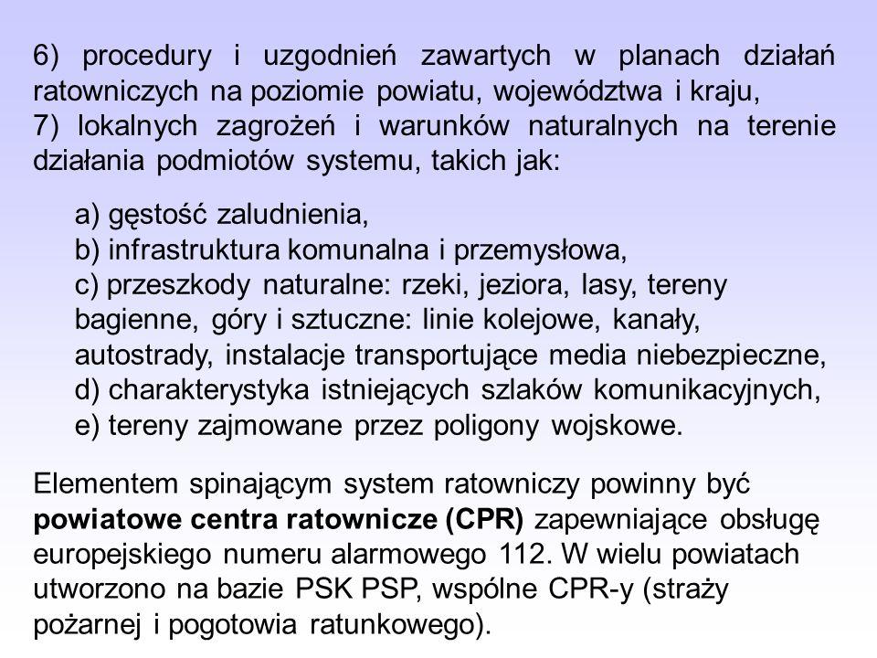 6) procedury i uzgodnień zawartych w planach działań ratowniczych na poziomie powiatu, województwa i kraju,