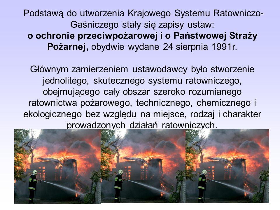 Podstawą do utworzenia Krajowego Systemu Ratowniczo-Gaśniczego stały się zapisy ustaw: