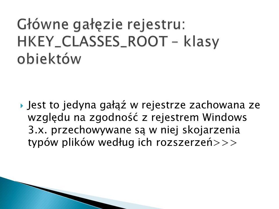 Główne gałęzie rejestru: HKEY_CLASSES_ROOT – klasy obiektów