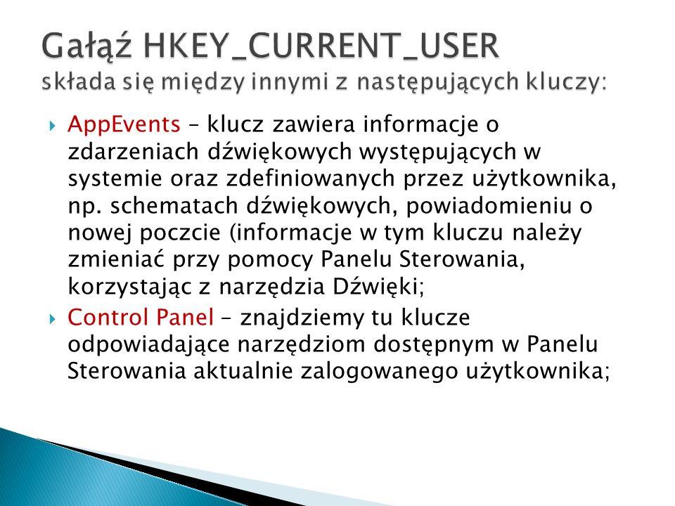 Gałąź HKEY_CURRENT_USER składa się między innymi z następujących kluczy: