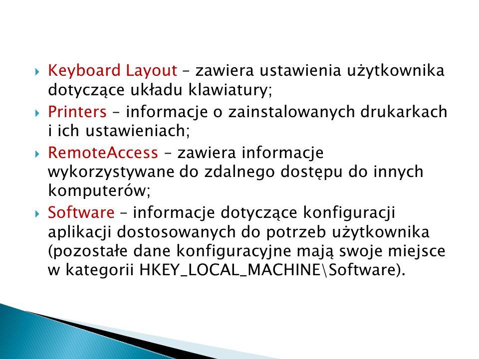 Keyboard Layout – zawiera ustawienia użytkownika dotyczące układu klawiatury;