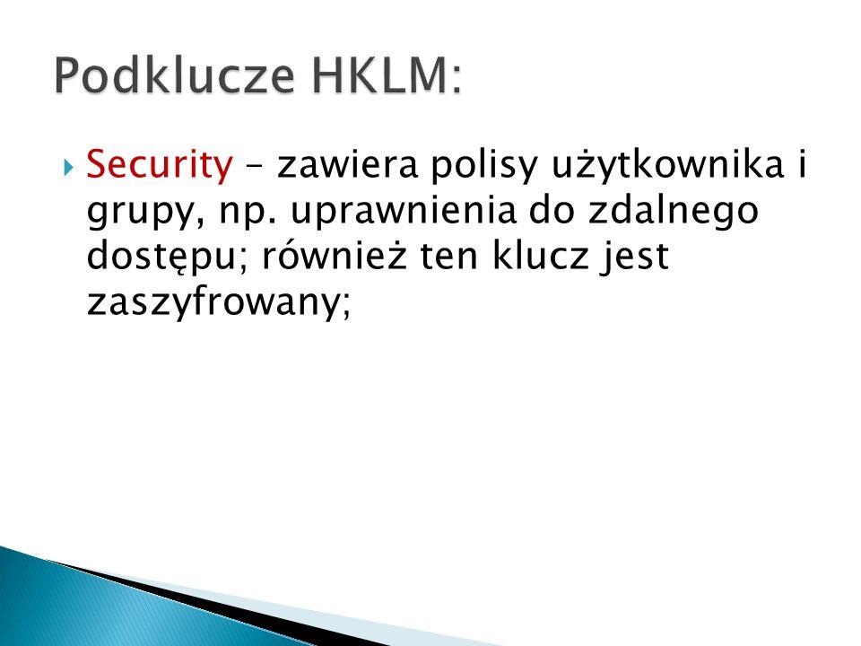 Podklucze HKLM: Security – zawiera polisy użytkownika i grupy, np.