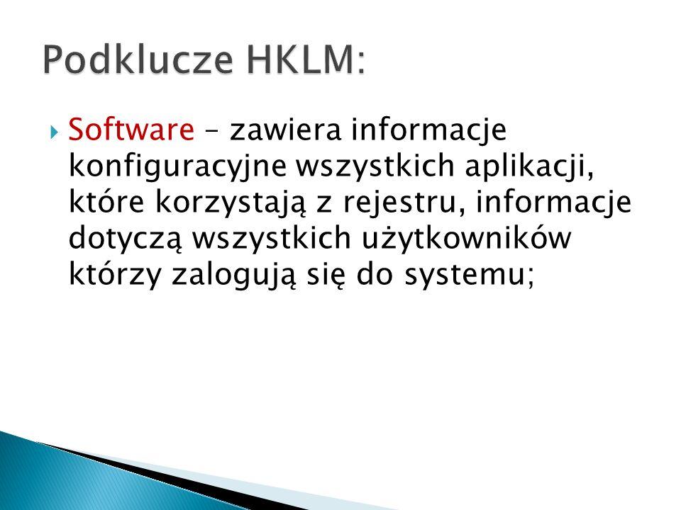 Podklucze HKLM: