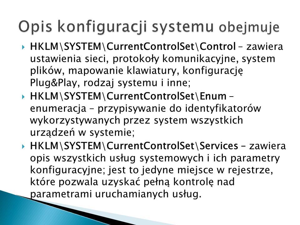 Opis konfiguracji systemu obejmuje
