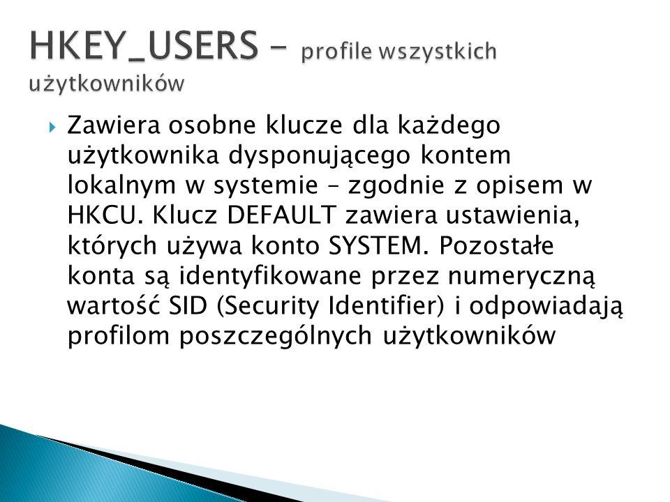 HKEY_USERS – profile wszystkich użytkowników