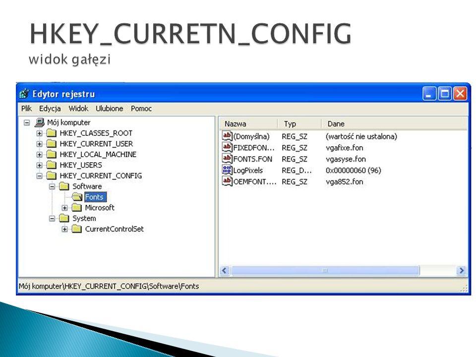 HKEY_CURRETN_CONFIG widok gałęzi