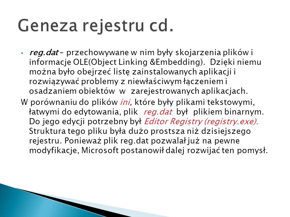Geneza rejestru cd.