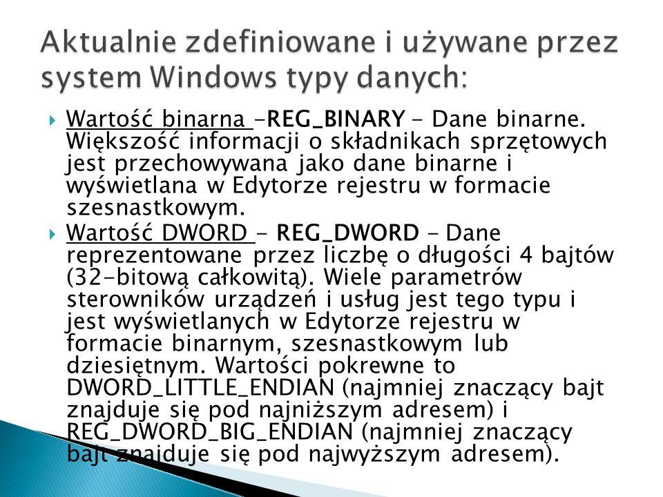 Aktualnie zdefiniowane i używane przez system Windows typy danych: