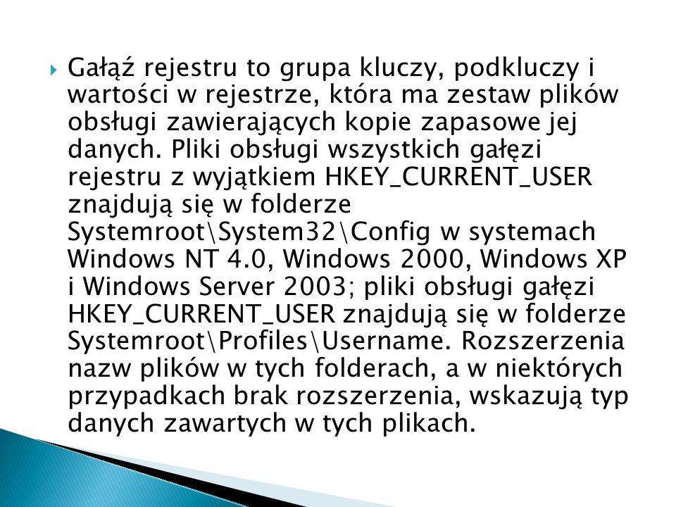 Gałąź rejestru to grupa kluczy, podkluczy i wartości w rejestrze, która ma zestaw plików obsługi zawierających kopie zapasowe jej danych.