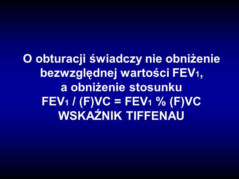 O obturacji świadczy nie obniżenie bezwzględnej wartości FEV1, a obniżenie stosunku FEV1 / (F)VC = FEV1 % (F)VC WSKAŹNIK TIFFENAU