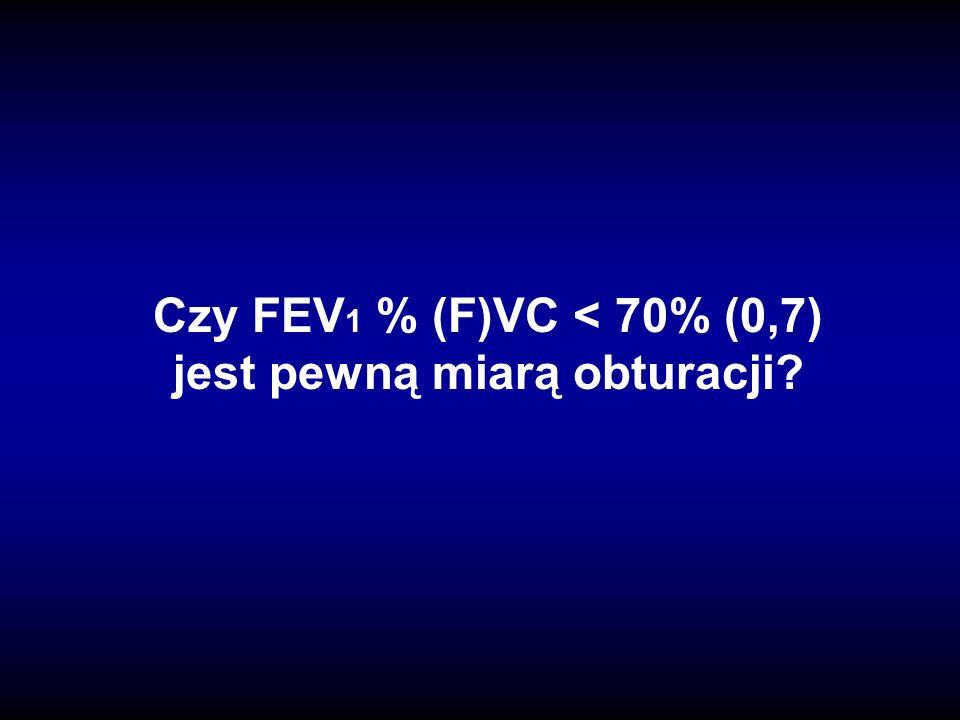 Czy FEV1 % (F)VC < 70% (0,7) jest pewną miarą obturacji