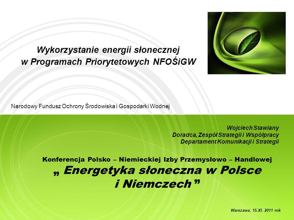 Wykorzystanie energii słonecznej w Programach Priorytetowych NFOŚiGW