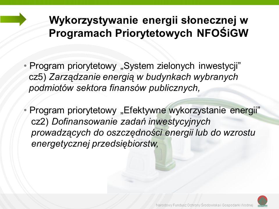 Wykorzystywanie energii słonecznej w Programach Priorytetowych NFOŚiGW