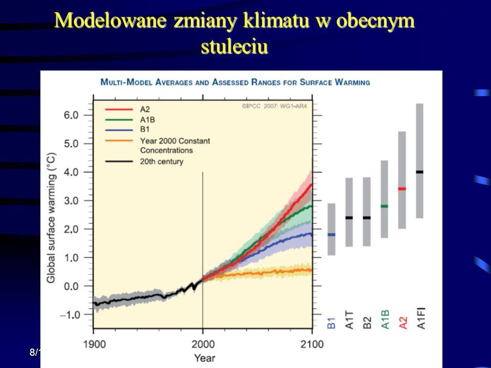 Modelowane zmiany klimatu w obecnym stuleciu