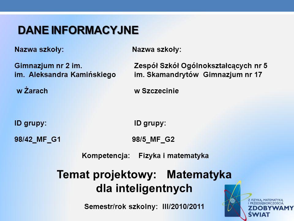 Temat projektowy: Matematyka dla inteligentnych